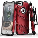 Zizo Bolt 系列兼容 iPhone 8 Plus 手机壳*级跌落测试钢化玻璃屏幕保护膜 iPhone 7 Plus 手机壳BOLT-IPH7PLUS-RDBK 红色/黑色