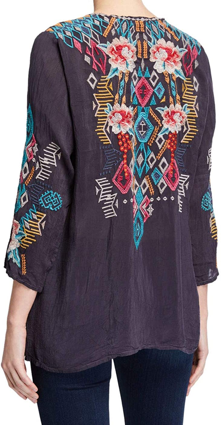 Johnny Was Womens Rayon Contrast Embroidered Blouse Blouse Grey Onyx