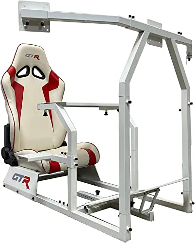 GTR Simulator GTAF-WHT-S105LWHTRD – GTA-F Model White Triple or Single Monitor Stand with White Red Adjustable Leatherette Seat, Racing Simulator Cockpit Gaming Chair Single Monitor Stand