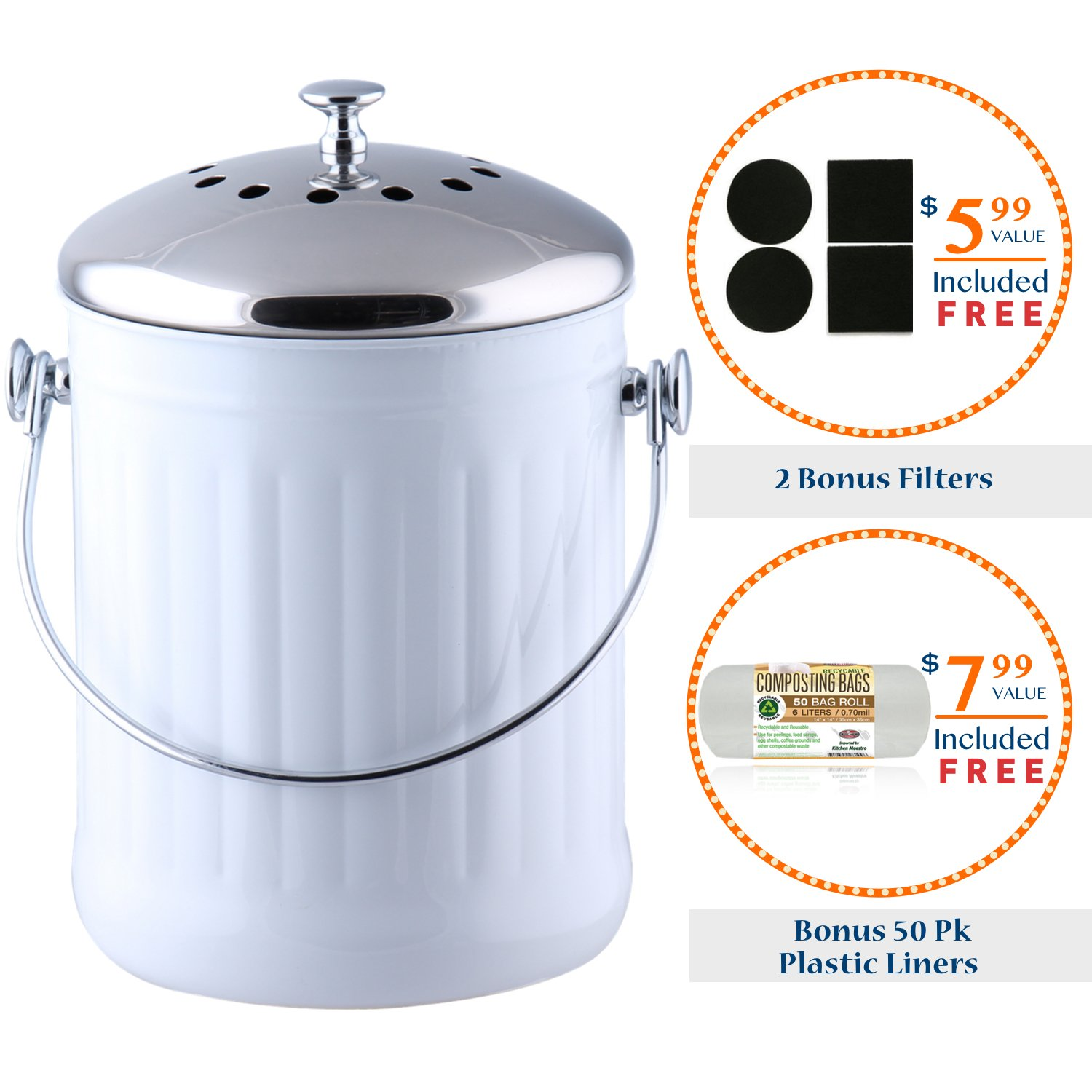 amazoncom kitchen maestro counter top stainless steel compost bin with 2 odor absorbing filter sets and 50 compost bags white kitchen u0026 dining
