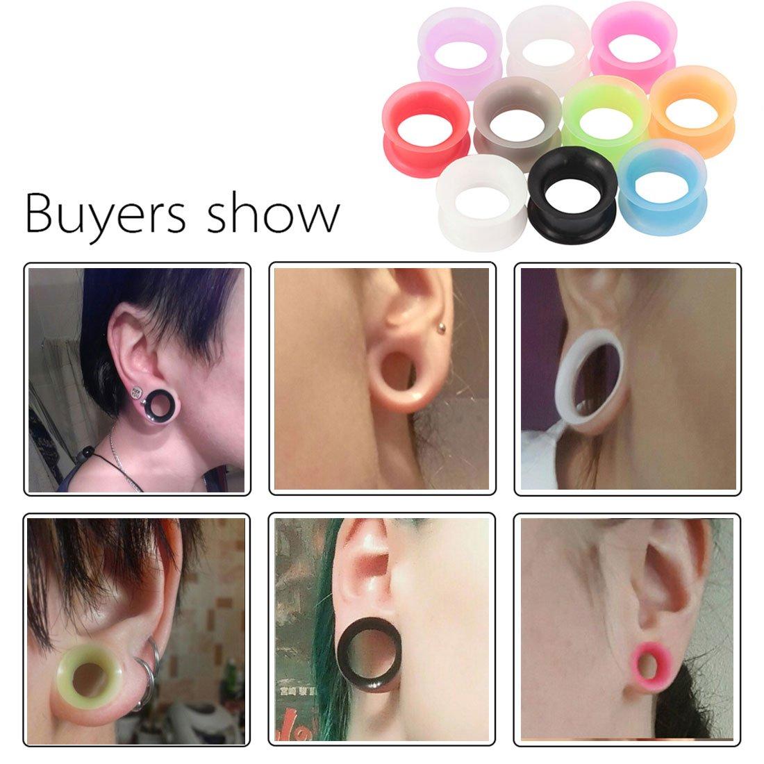Huacan 20 Piezas Expansor de Túnel Silicona Delgada Suave Ear Plug Precing Dilatador de oreja Diez Color 12MM: Amazon.es: Joyería