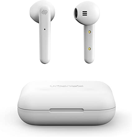 Urbanista Stockholm True Wireless Earbuds 14H Playtime Bluetooth 5.0 with Charging Case, Touch Controls & Dual Mic Earphones Compatible with Android and iOS - White