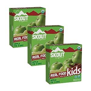 Skout Organic Apple Pie Real Food Bars for Kids (18 Pack)   Organic Snacks for Kids   School Snacks & Lunch Snacks   No Refined Sugar   Vegan & Paleo   Gluten, Dairy, Grain, Peanut Free
