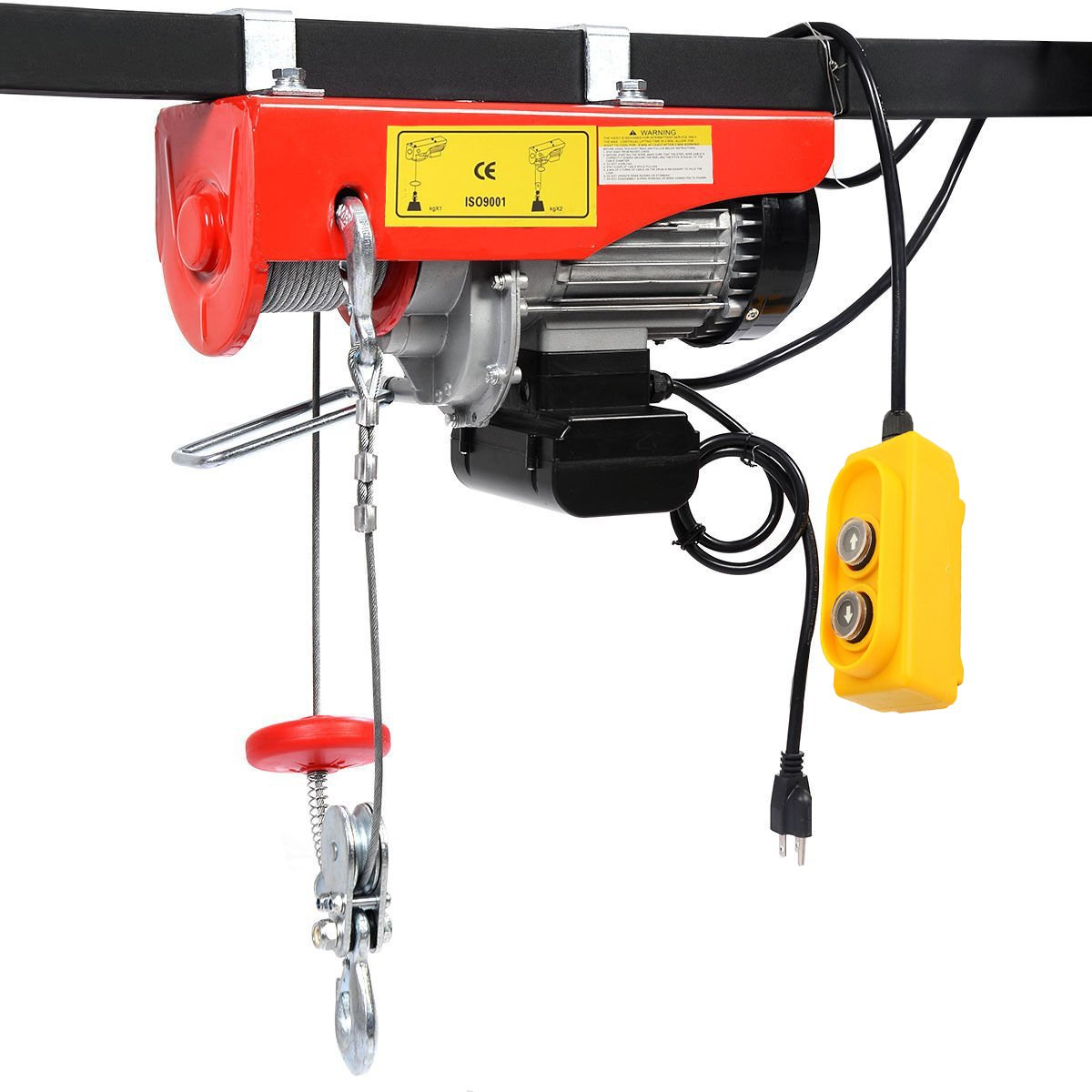 BEAMNOVA 1500lb Electric Hoist Lift Overhead Winch with Remote Control Single/Double Slings
