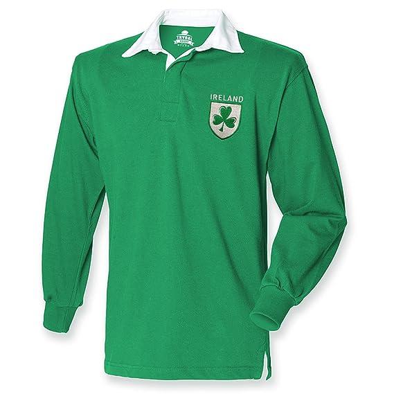 57a95d0a7 FunkyShirt Ireland Retro Rugby Shirt Fans Jersey Shamrock Logo Mens 6  Nations Irish: Amazon.co.uk: Clothing