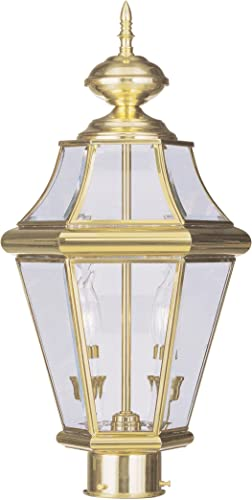 Livex Lighting 2264-02 Georgetown 2-Light Outdoor Post Head, Polished Brass