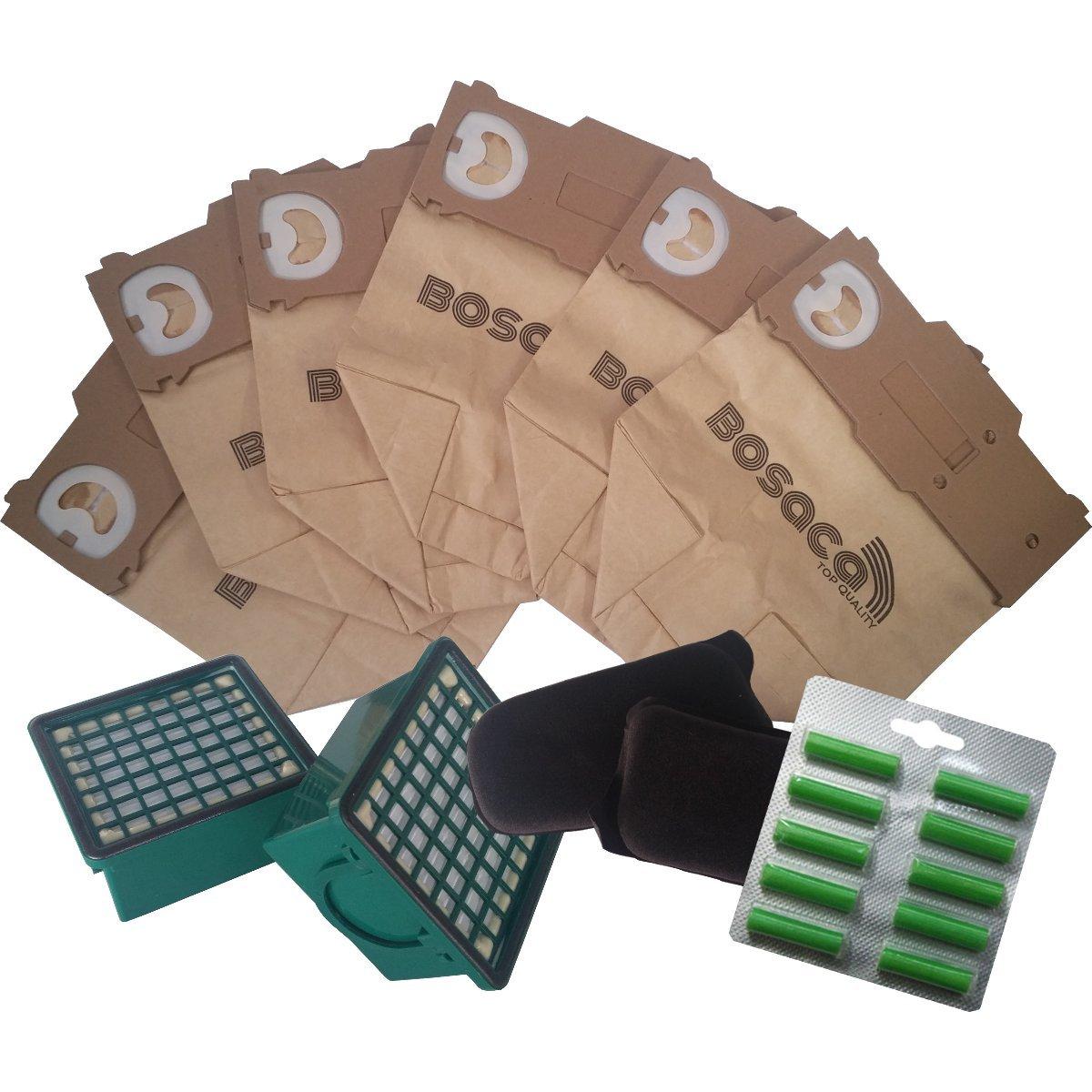 Kit 12 Sacchetti Folletto Vorwerk VK 130 VK131 + 12 Profumini + 2 Microfiltri Igienici + 2 FIltri Carbone Attivo - Garanzia 24 Mesi Bosaca Ufficiale