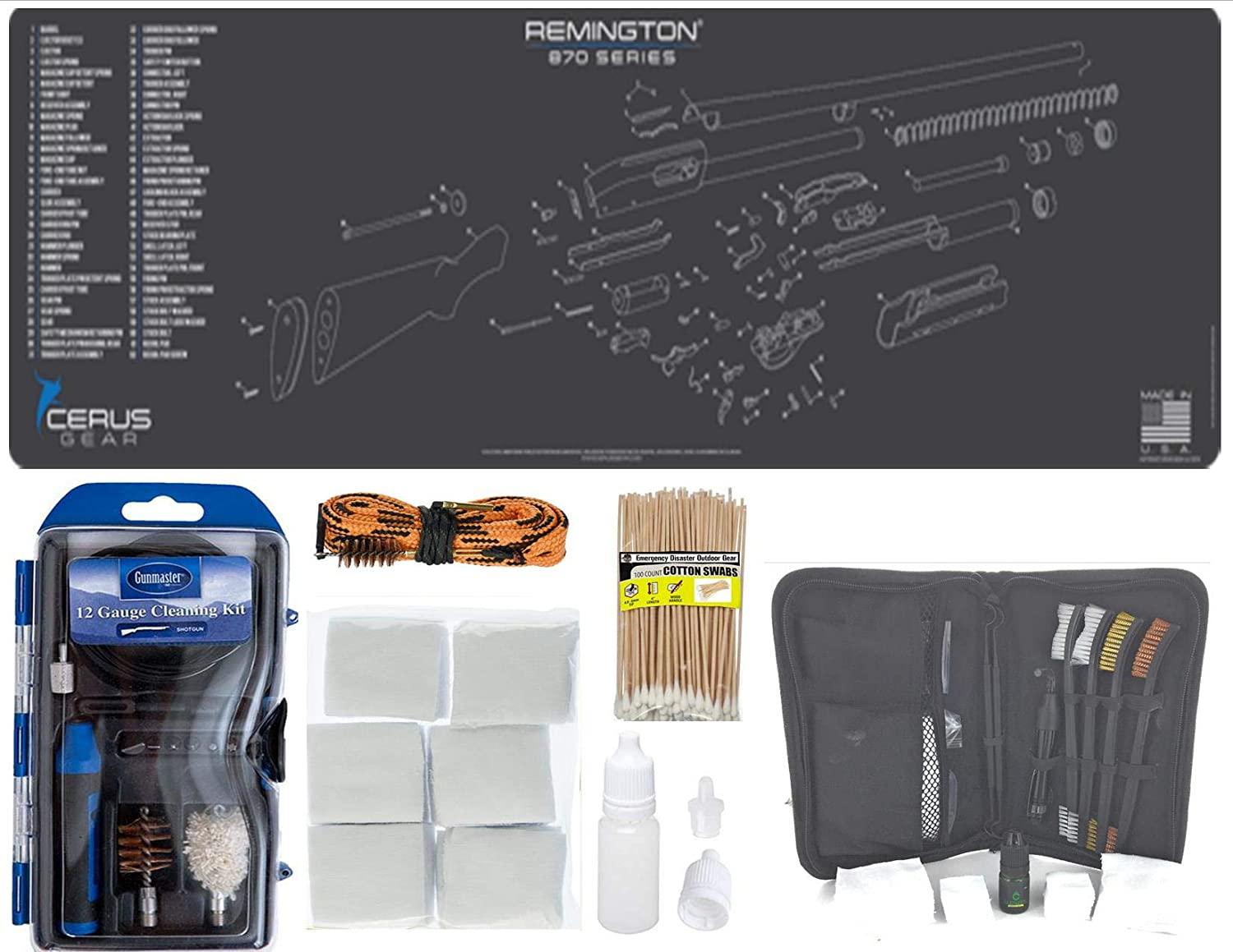 """EDOG Remington 870 Shotgun 30 Pc Cleaning Essentials Kit Schematic (Exploded View) 14x48 Padded Gun Work Surface Protector Mat GunMaster 13 PC 12 GA & 15 PC Tac Book w Bore Snake Swabs 3""""Patches"""