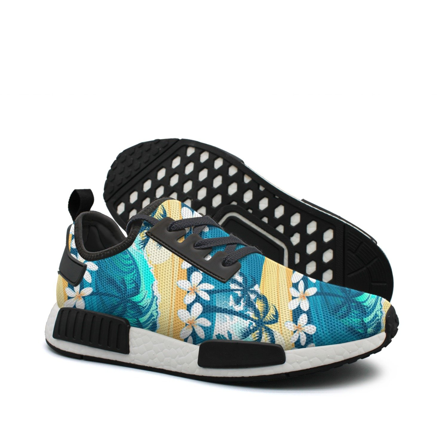 Women Net Tropical Surfing With Palm Trees Unique Fashion Running shoes
