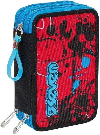 Estuche escolar completo con 3 cremalleras Seven Sprinkle rojo y azul: Amazon.es: Oficina y papelería
