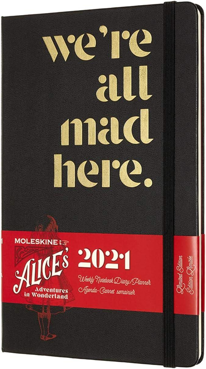 144 Seiten Thema Karten und Rote Rosen Format Pocket 9 x 14 cm Moleskine 12 Monate Wochenkalender Wochenplaner 2021 Alice im Wunderland limitierte Sonderausgabe
