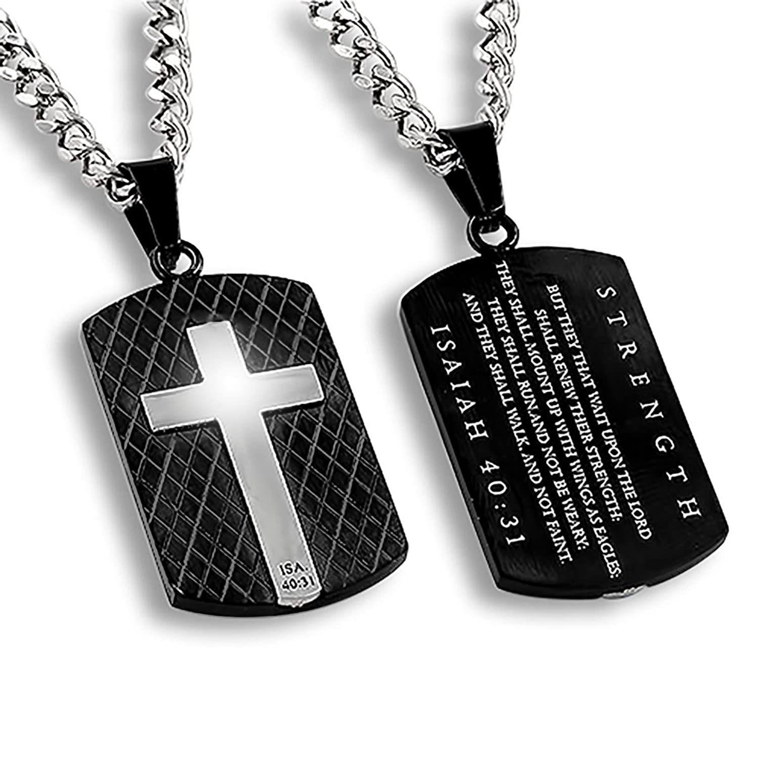 Diamond Back Shield Cross Black Necklace STRENGTH Stainless Steel Christian Bible Verse Scripture Jewelry