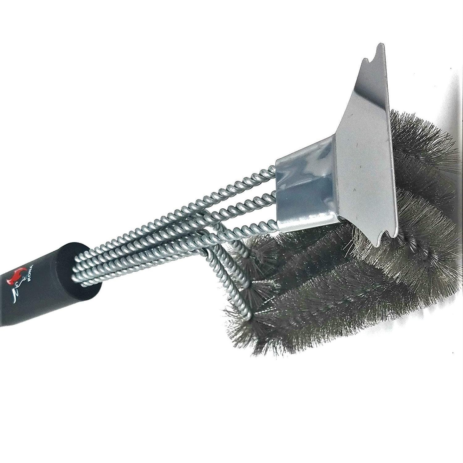 Kona Grill Brush And Scraper ~ 360° Clean Stainless Steel Barbecue Brush With Triple Head Scrubber Cleaner ~ Safe For Porcelain, Ceramic, Steel, Cast Iron ~ Great BBQ Tools Gift