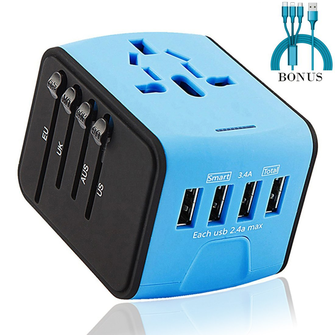 HOTINS Travel Adapter with 4-port 2.4A USB Charger Adapter US UK EU AUS All in One Universal Wall Charger for Iphone Ipad Power Bank Camera(Bonus: Type C, Iphone,Android 3 in one charge cable) Blue