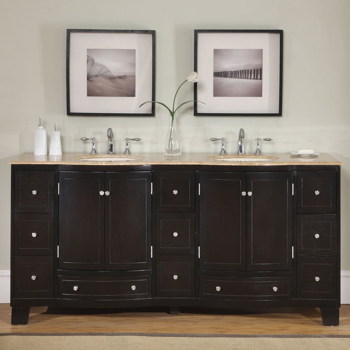 Silkroad Exclusive Countertop Travertine Stone Double Sink Bathroom Vanity with Dual Cabinet, 72 , Dark Wood