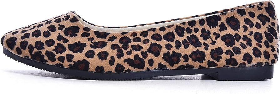 536f3855c1f5 Amazon.com | Slduv7 Women Leopard Print Flats Pointed Toe Cute ...
