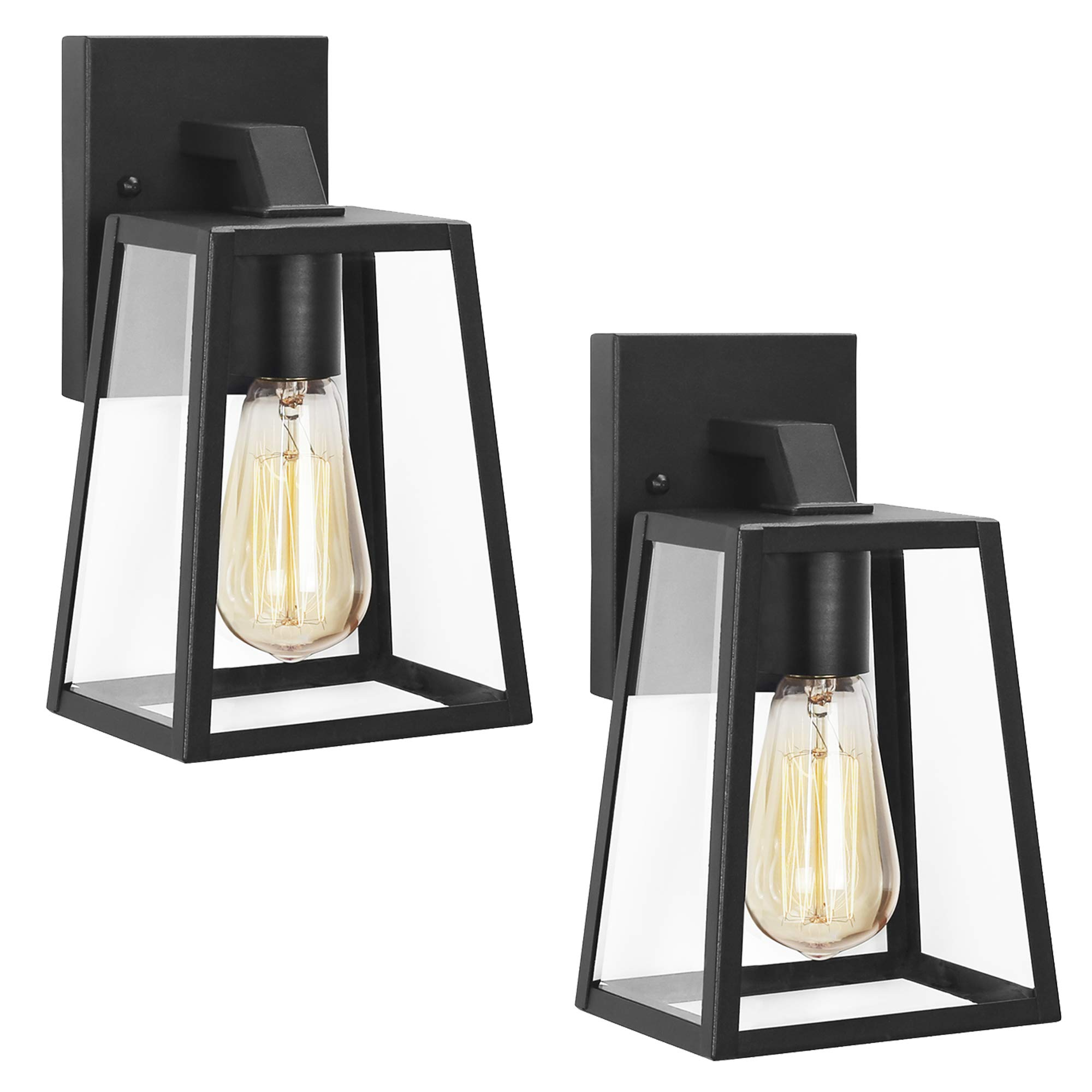 Emliviar Outdoor Wall Sconces 2 Pack, 1-Light Porch Lights Fixture, Black Finish with Clear Bevel Glass, OS-1803AW1-2PK by EMLIVIAR