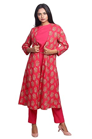 8d26468123b Label Krisha Women Pink Hand Block Printed Crop top with Pants and Open  Long Jacket.