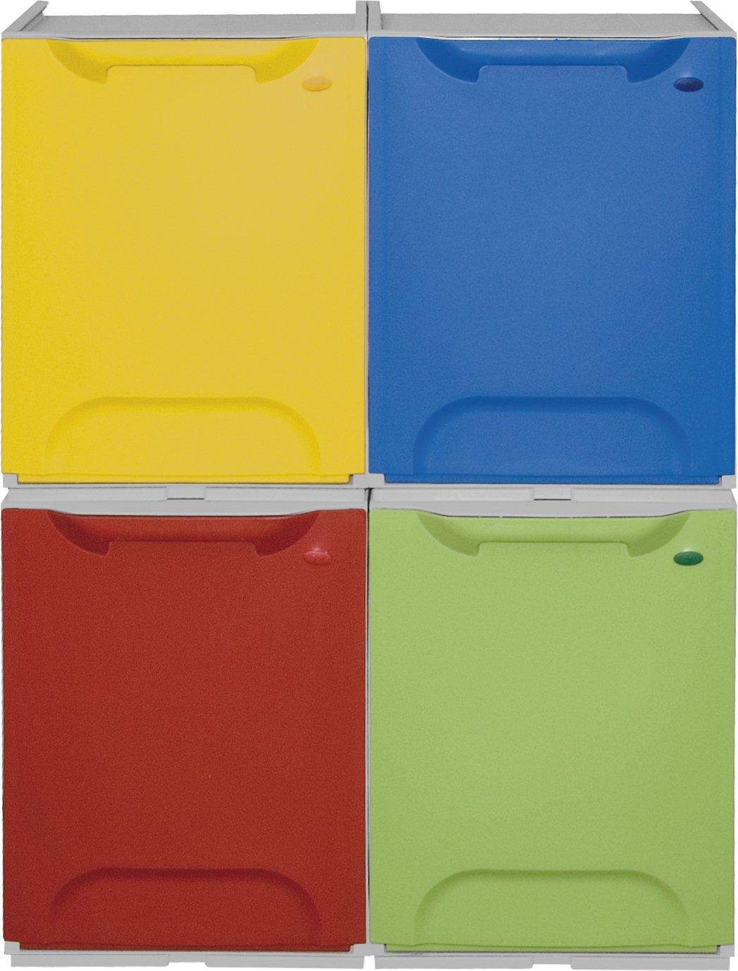 Art Plast R34/1R Cassonetto per la raccolta differenziata in plastica, Rojo/Blanco