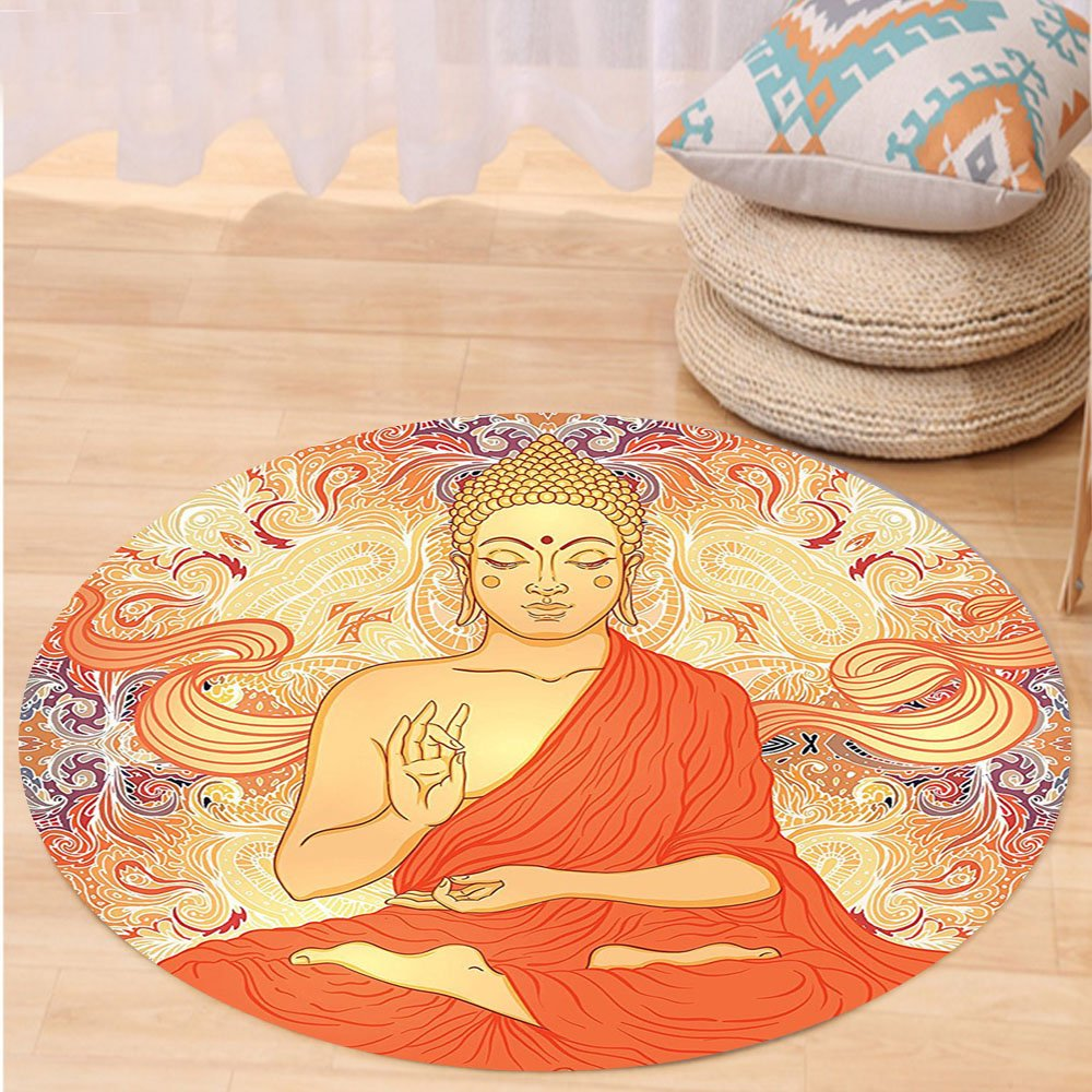 VROSELV Custom carpetAsian Yoga Decor Meditation Aura Thai Temple Ornamental Motive Spiritual Design Print Bedroom Living Kids Girls Boys Room Dorm Accessories Orange Purple Round 34 inches by VROSELV