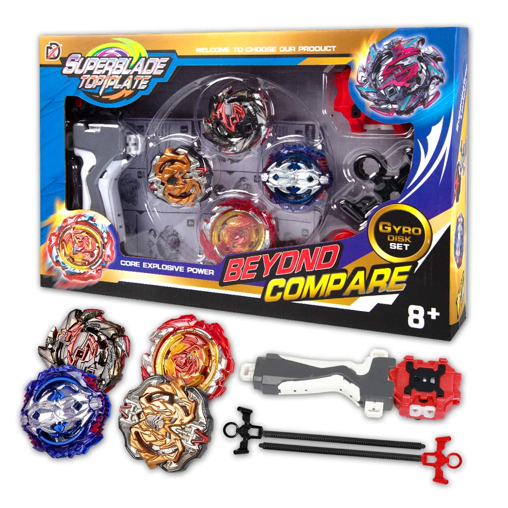Innoo Tech Bey Battle Blade Burst   4 Pieces Speed Gyro Metal Combat Gyro Set   4D Fusion Model Burst Evolution Combination Series with 2 Launcher Toys for Kids by Innoo Tech