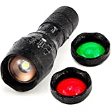 UltraFire Tactical LED Flashlight A100 Focusable 3 colors Exchange Glass Lens 900 Max Lumens … (A100)