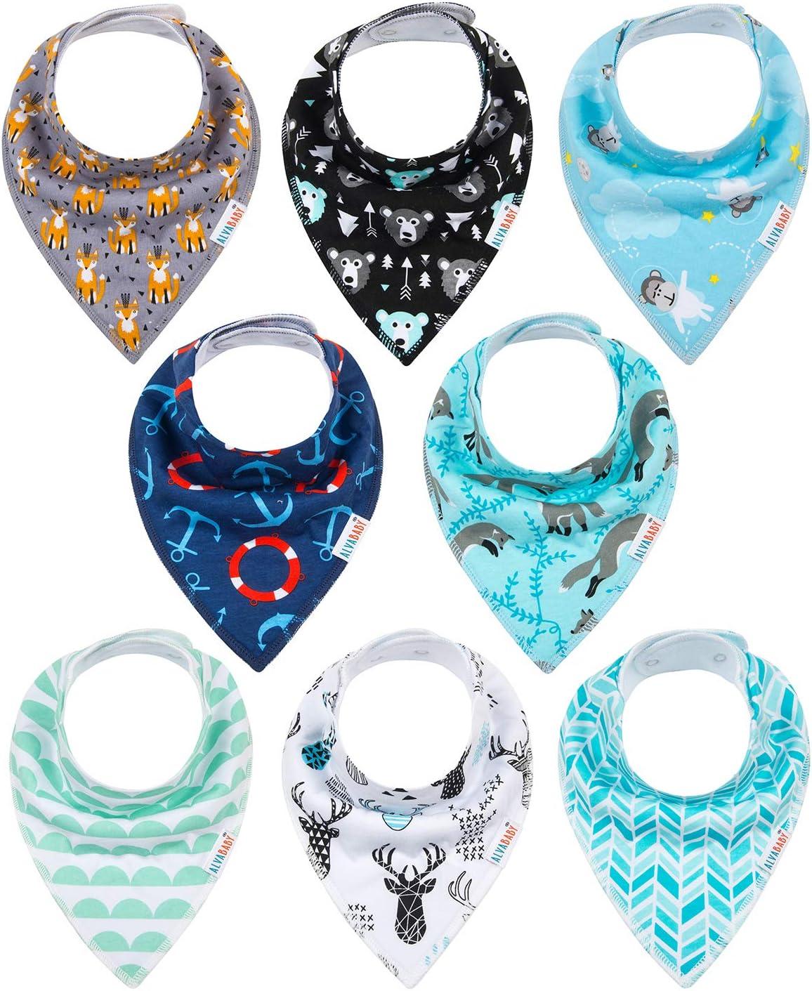 Baby Dribble Bibs Bandana for Girls Boys Unisex Set Cotton Gift Pack for Fit of