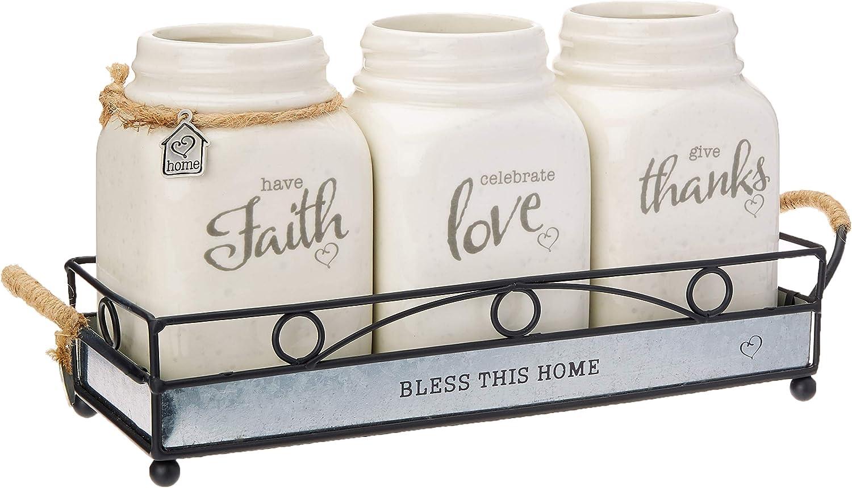 Precious Moments Set/4 Inspirational Mason Jar With Holder, Cream/Green