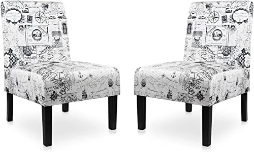 Modern Fabric Armless Accent Chair Set of 2 Decorative Slipper Chair Vanity Chair