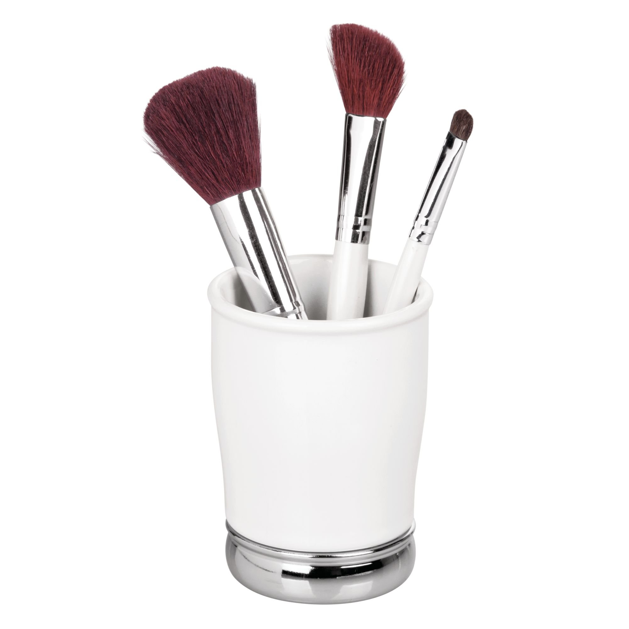 InterDesign York Ceramic and Metal Tumbler, Makeup Brush Toothbrush Holder Cup for Bathroom, Countertop, Desk, Dorm, College, and Vanity, 3.25'' diameter x 4.25'', White and Chrome by iDesign
