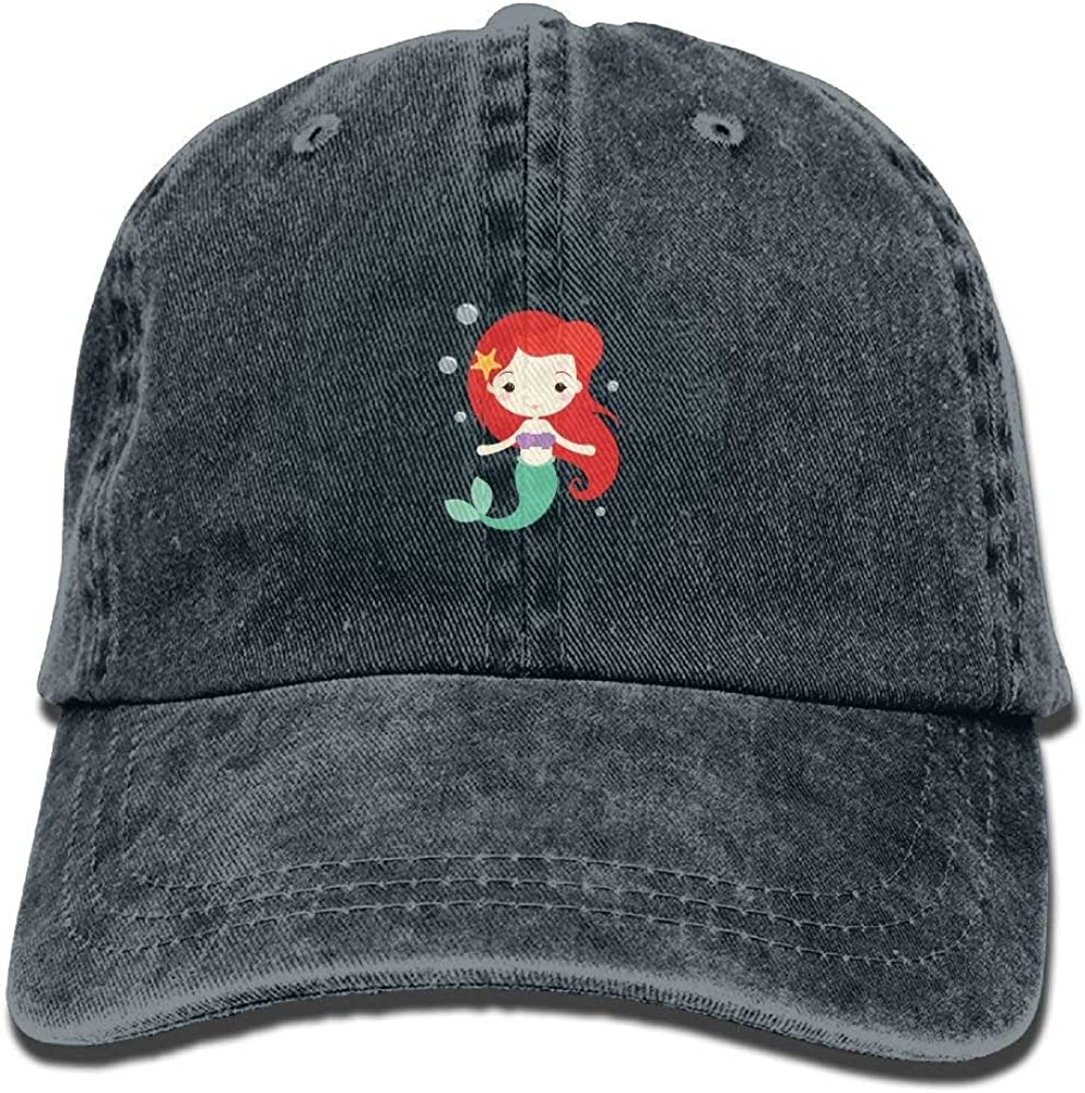 Cartoon Mermaid Girl Cute Unisex Adjustable Baseball Cap Dad Hat