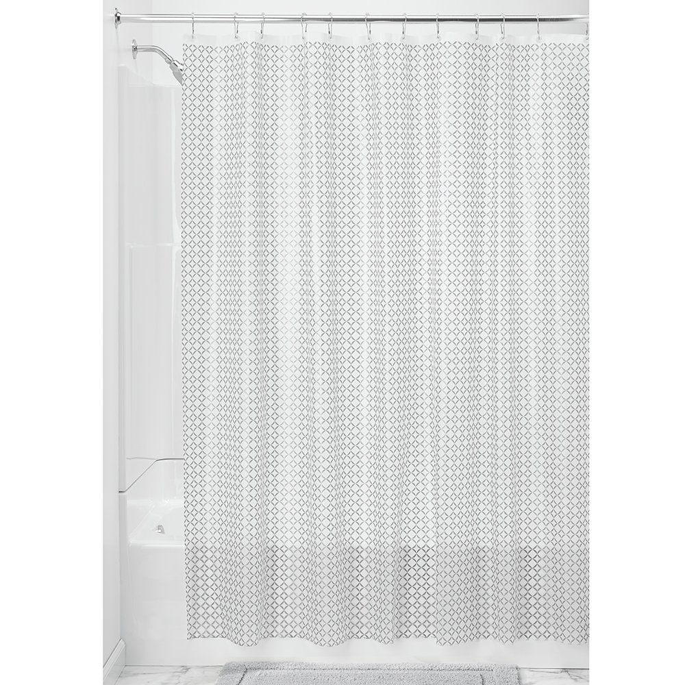 InterDesign 180 x 200 cm Addie Decorative Peva 3-Gauge Shower Liner, Silver 35998EU