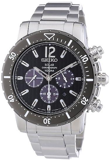 Seiko Solar - Reloj de cuarzo para hombre, con correa de acero inoxidable, color plateado: Amazon.es: Relojes