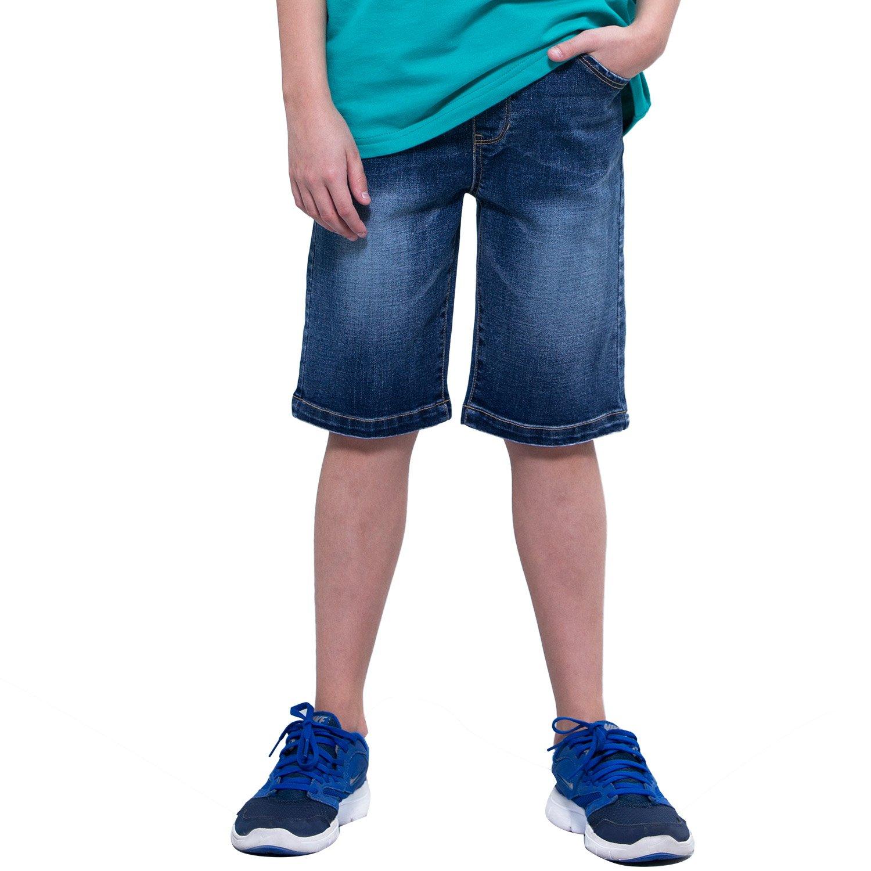 Leo&Lily Boys' Kids' Elastic Waist Regular Fit Stretch Denim Shorts Jean (Dark Blue, 16 Husky)