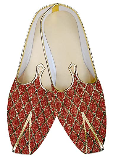 Mens Golden and Red Wedding Shoes MJ011313