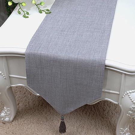 Caminos de mesa de algodón y lino de color puro, mesa de té para ...
