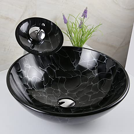 Black Painting Vessel Sinks Tempered Glass with Waterfall Faucet and ...