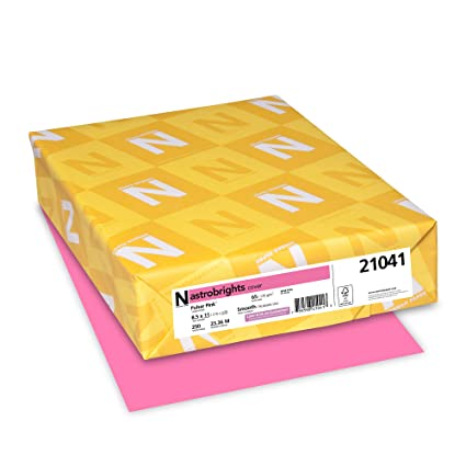 """Neenah 21041 Wausau Astrobrights Colored Cardstock, 8 5"""" x 11"""", 65 lb / 176  GSM, Pulsar Pink, 250 Sheets"""