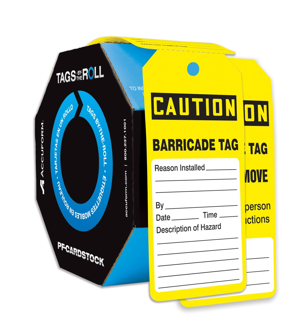 Accuform TAR160 Tags By-The-Roll Inspection and Status Tags, Legend''CAUTION BARRICADE TAG'', 6.25'' Length x 3'' Width x 0.010'' Thickness, PF-Cardstock, Black on Yellow (Pack of 250) by Accuform