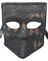 RedSkyTrader Mens Checkered Sparkling Venetian Mask