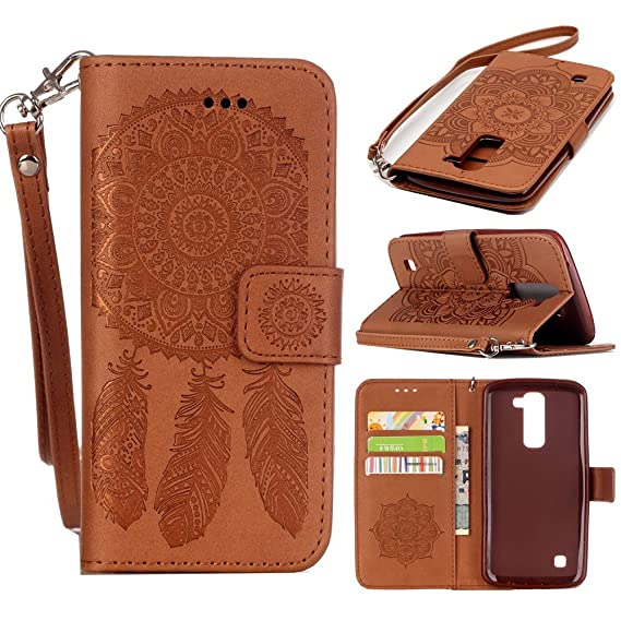 cheap for discount 17fd4 01b2e LG K7 Case, LG Tribute 5 Case, Harryshell Caving Dream Catcher PU Wallet  Leather Case Cover with Card Slots & Strap for LG K8 / Escape 3 / Phoenix 2