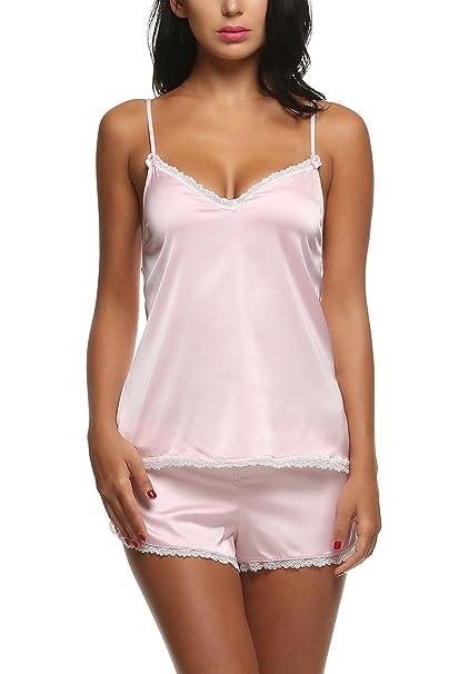 84e4553282f Ekouaer Mujer Conjunto de Pijama 2 Piezas Camiseta y Pantalones Ropa de  Dormir de Satén Top Interior Encaje: Amazon.es: Ropa y accesorios