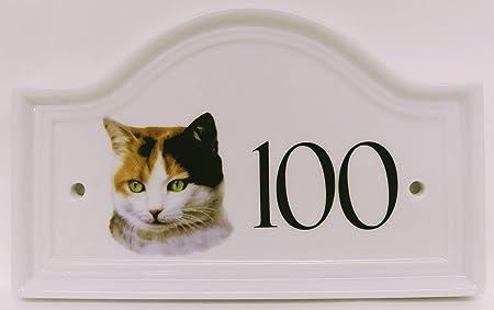 Gato de la puerta de la casa número parcheadas gato de cerámica placa Número de cualquier número disponible pintada a mano en el Reino Unido tipo: Amazon.es: Hogar