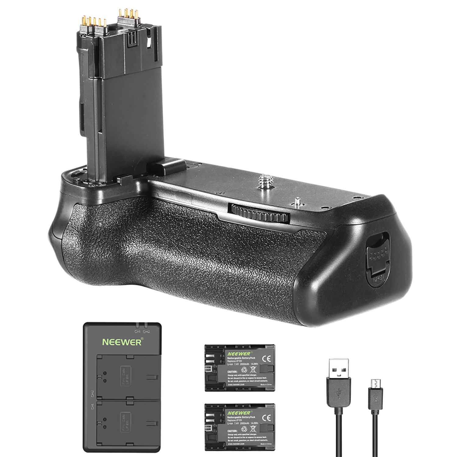 Neewer Battery Grip Holder Replacement Grip for Canon BG-E14 and 2 Pieces 2000mAh LP-E6 LP-E6N Replacement Battery with Micro USB Input Dual Charger for Canon EOS 70D 80D Camera DSLR