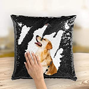 AsiaRhyme Black Sequins Throw Pillow Cover,40x40 cm Square Throw Pillow Case,Zipped Custom-Made Pillow Covers for Home,Office,Couch,Sofa,Chair,Bed