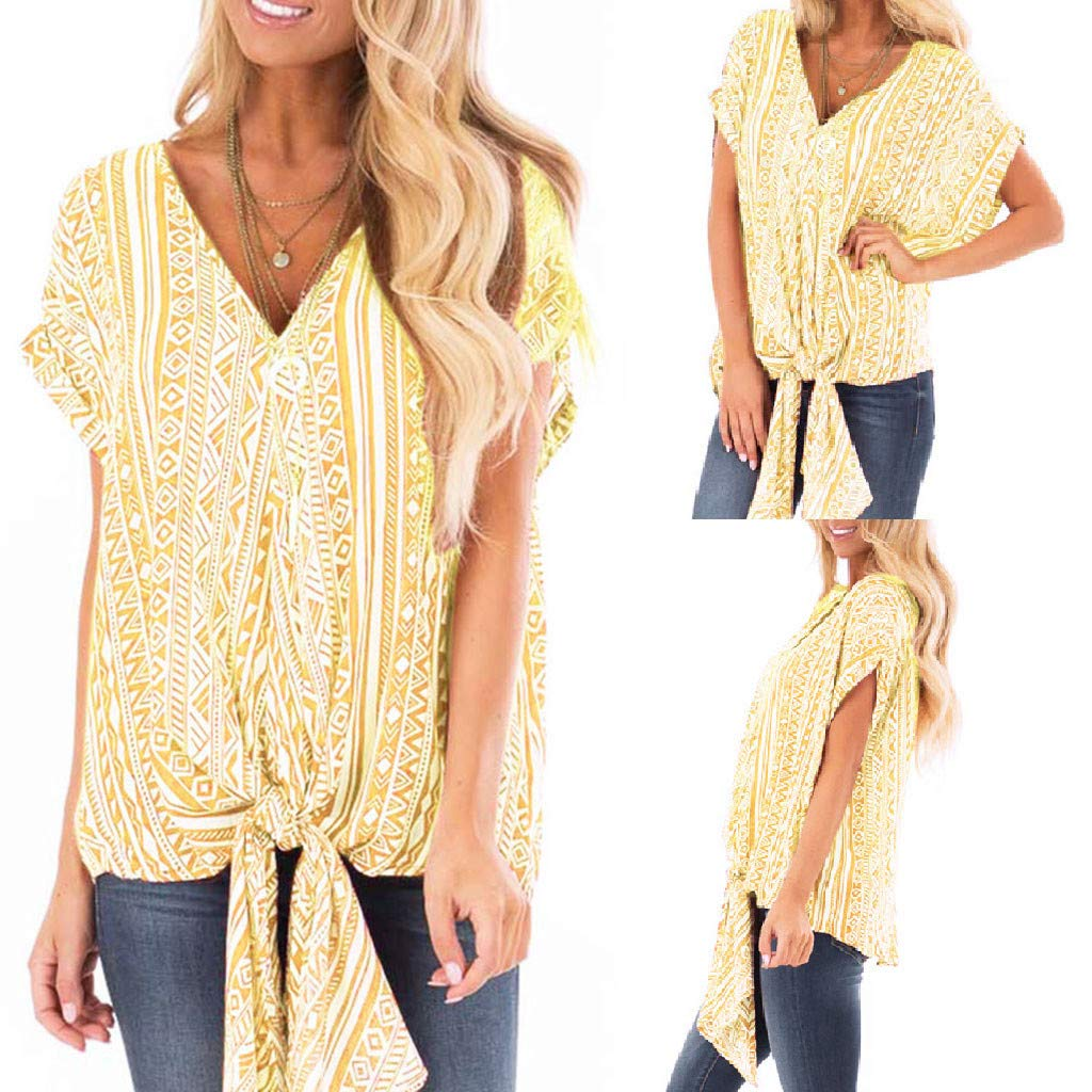 Camisetas Mujer,PANPANY T-Shirts Cuello en v de Ropa Nudo Shirts ...