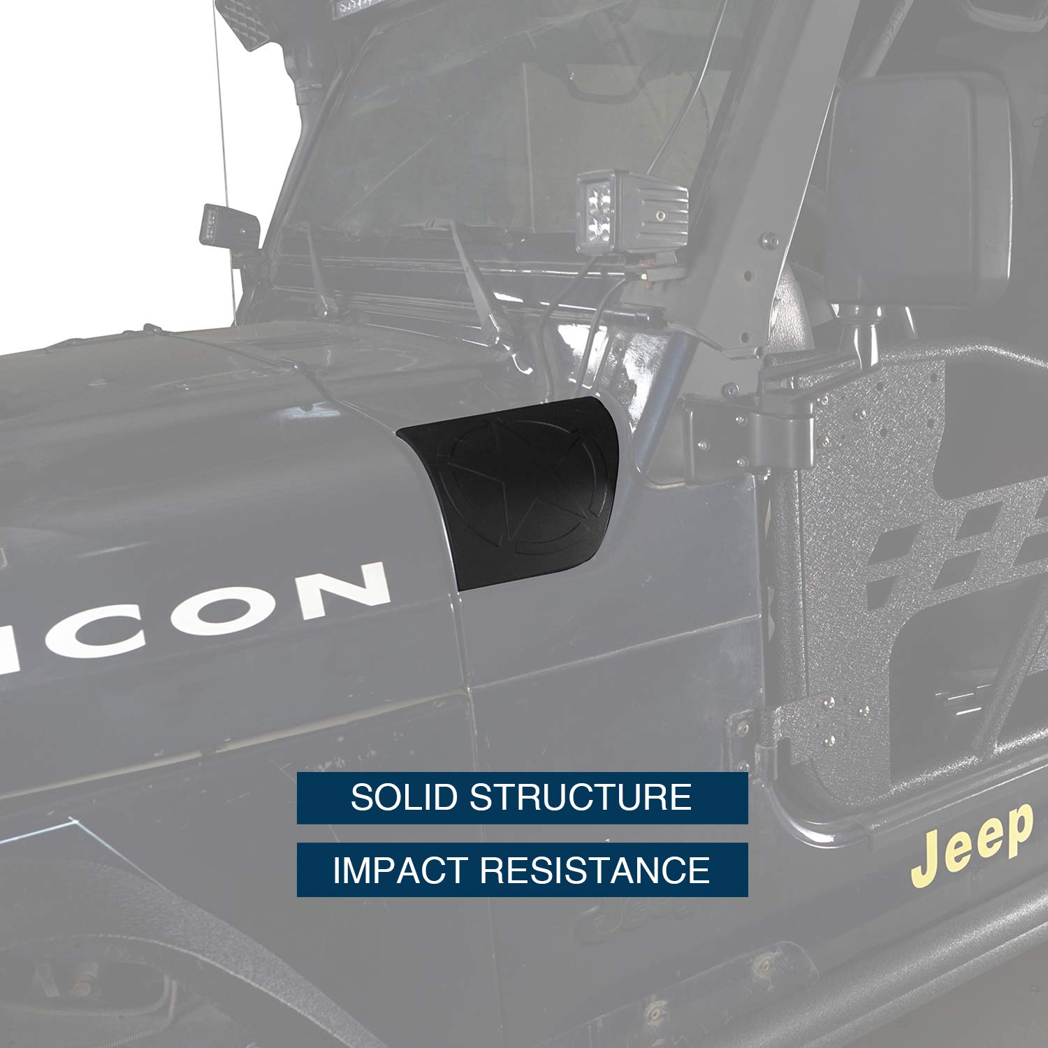 u-Box Jeep Wrangler TJ Cowl Body Armor Front Hood Corner Guard Cover for Jeep Wrangler TJ 1997-2006