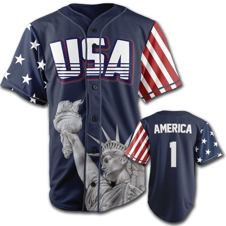 a9aba0a0d Top1: Greater Half Custom Baseball Jersey Button Down USA Blue America #1  (Small-4XL)