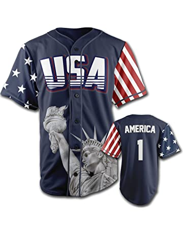 089e2d76020 Greater Half Custom Baseball Jersey Button Down USA Blue America #1  (Small-4XL