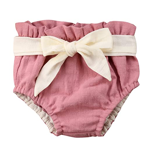33a97ad8e Baby Girl's Cotton Ruffle Shorts Bowknot PP Bottoms Diaper Cover Bloomers  Pink (3-6